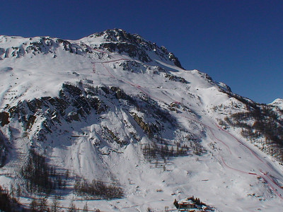 A view of the upper half of the downhill course in Val d'Isere, sight of the 2009 FIS Alpine World Ski Championships (Doug Haney/U.S. Ski Team)