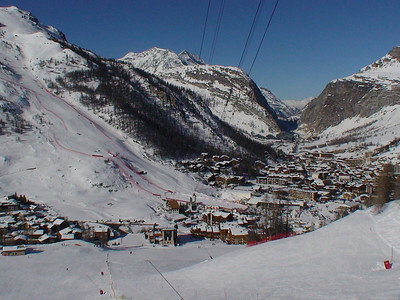 An panorama of Val d'Isere, the lower half of the downhill course and the finish arena. The French mountain community will host the 2009 FIS Alpine World Ski Championships (Doug Haney/U.S. Ski Team)