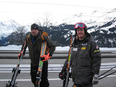 Ted Ligety (right) and his Rossignol ski techician Katso wait to board the train in Wengen prior to training slalom (Doug Haney/U.S. Ski Team)