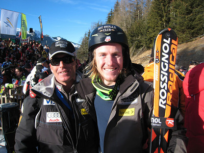 Ted Ligety smiles with Head Coach Phil McNichol after Ligety placed fifth in the super combined at Wengen (Doug Haney/U.S. Ski Team)