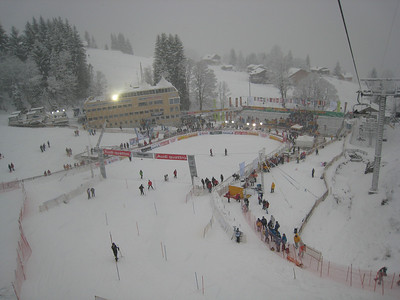 Workers hustle to clear the slalom course prior to the 9:45 a.m. start in Wengen (Doug Haney/U.S. Ski Team)