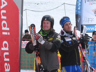 Ted Ligety (5th) and Markus Larsson (6th) cheer for the top 3 super combined finishers in Wengen (Doug Haney/U.S. Ski Team)