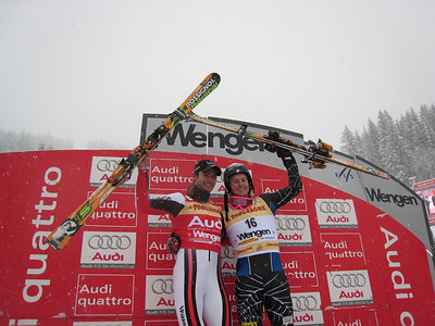 Ted Ligety (right), who was third in the Wengen slalom, on the podium with winner Jean Baptiste Grange of France (Doug Haney/U.S. Ski Team)