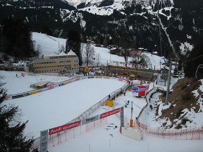 A view of the finish area prior to the start of the super combined in Wengen (Doug Haney/U.S. Ski Team)