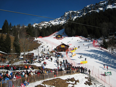 A view of the slalom hill prior to the start of the second leg of super combined in Wengen (Doug Haney/U.S. Ski Team)