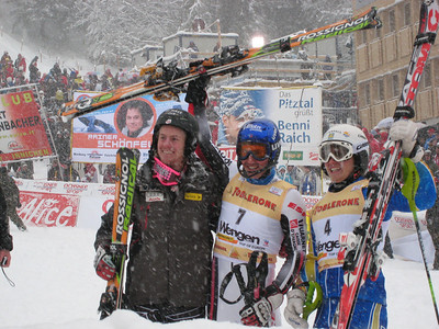 Ted Ligety (left) poses for photos in the finish arena with Jean-Baptiste Grange of France, and Jenns Byggmark of Sweden. The trio finished 3-1-2 in the Wengen slalom (Doug Haney/U.S. Ski Team)
