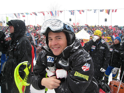 Cody Marshall smiles in the Wengen finish area after ripping to 19th in the slalom, his first World Cup points (Doug Haney/U.S. Ski Team)