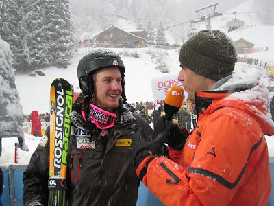 Ted Ligety interviews with German television after finishing third in the Wengen slalom (Doug Haney/U.S. Ski Team)