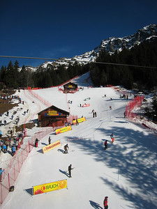 Course workers prepare the slalom hill prior to the second leg of super combined in Wengen (Doug Haney/U.S. Ski Team)