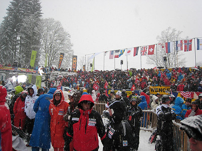 Fans pack the slalom finish area at Wengen, despite pounding snow that dropped nearly half a foot in the on the course (Doug Haney/U.S. Ski Team)