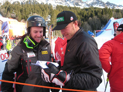 Ted Ligety (5th) and Bode Miller (3rd) check out slalom split times prior to the super combined awards ceremony in Wengen (Doug Haney/U.S. Ski Team)