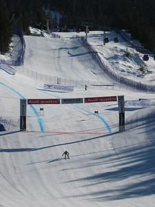 T.J. Lanning crosses the finish line at Whistler during the men's super G Photo: Doug Haney/U.S. Ski Team