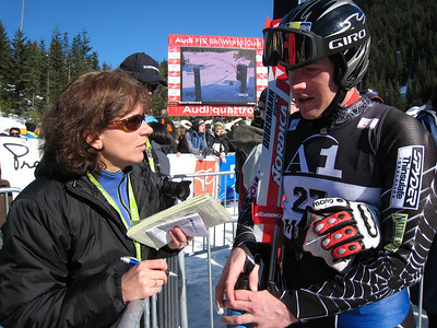Marco Sullivan interviews with Meri-Jo Borzilleri of ESPN.com after the men's super G in Whistler Photo: Doug Haney/U.S. Ski Team