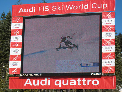 T.J. Lanning screams down the men's super G course on the jumbo tron at Whistler. Photo: Doug Haney/U.S. Ski Team