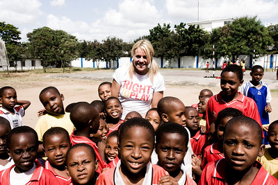 British racer Chemmy Alcott at the Dar Es Salaam Right to Play camp after summiting Mt. Kilimanjaro for the charity (www.laurenrossphoto.com)