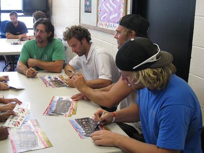 Men's alpine team signing autographs at the Sugarhouse Boys & Girls Club in Salt Lake City (July 23, 2007). L to R Erik Schlopy, Bryon Friedman (both Park City, UT), Steven Nyman (Orem, UT) and Erik Fisher (Middleton, ID). Photo credit: Juliann Fritz/USSA