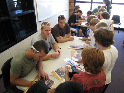 Men's alpine team signing autographs at the Sugarhouse Boys & Girls Club in Salt Lake City (July 23, 2007). L to R TJ Lanning 9Park City, UT), Chris Beckmann (Altamont, NY) and Tim Jitlof (Reno, NV). Photo credit: Juliann Fritz/USSA