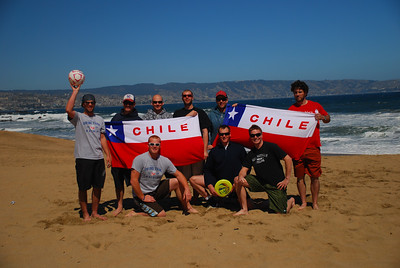 The men's alpine speed team salutes Chile from Vina del Mar, a stop between on-snow camps at Chillan and Portillo. Credit: Pete Korfiatis/USST