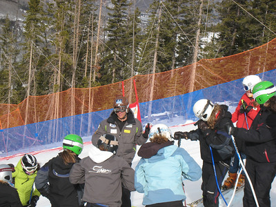 U.S. Ski Team's Steven Nyman(Provo, UT) speaks with young racers about the Birds of Prey downhill during the USSA's National Development System camp at Beaver Creek Resort (Dec. 4) Credit: Juliann Fritz/U.S. Ski Team