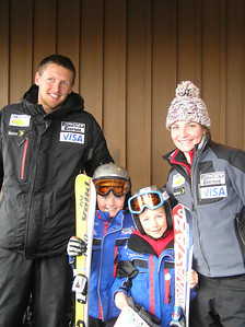 Tim Kelley and Megan McJames pose with some excited kids at New Zealand's Coronet Peak 60th birthday party (credit: Coronet Peak Ski Area)