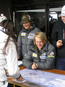 Olympic combined champion Ted Ligety signs autographs at Coronet Peak Ski Area in New Zealand as Lauren Ross (left) looks on. The U.S. Ski Team's helped the mountain kick off their 60th birthday party in mid August (credit: Coronet Peak Ski Area)