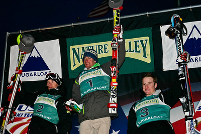 Men's slalom podium: 1. Jimmy Cochran, 2. Cody Marshall, 3. Tim Jitloff - Nature Valley U.S. Alpine Championships, Sugarloaf/USA, Maine. Photo © Kris Dobie.  Most Images in this gallery may be used only for editorial use with advance approval by USSA. Photos © Kris Dobie.