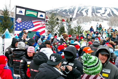Fans gather at awards for the men's slalom at the Nature Valley U.S. Alpine Championships, Sugarloaf/USA, Maine. Photo © Kris Dobie.  Most Images in this gallery may be used only for editorial use with advance approval by USSA. Photos © Kris Dobie.
