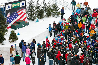 Fans gather at awards for the men's slalom at the Nature Valley U.S. Alpine Championships, Sugarloaf/USA, Maine (Photo © Kris Dobie.  Most Images in this gallery may be used only for editorial use with advance approval by USSA. Photos © Kris Dobie.