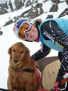 Lindsey Kildow in Chile and hanging out with Reggie, the local avalanche dog (credit: Christa Riepe/U.S. Ski Team)