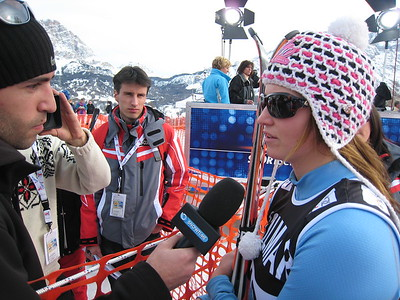Julia Mancuso interviews with Snowtime after finishing second in the first of two super Gs at Cortina (Doug Haney/U.S. Ski Team)