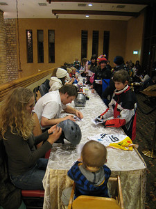 Members of the U.S. Alpine Ski Team sign autographs for fans at the Edelweiss Lodge and Resort in Garmisch-Partenkirchen, Germany (Doug Haney/U.S. Ski Team)