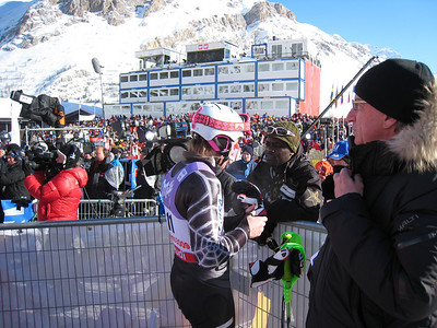 Ted Ligety chats with a racer from Ghana following the first run of slalom in Val d'Isere (Doug Haney/U.S. Ski Team)