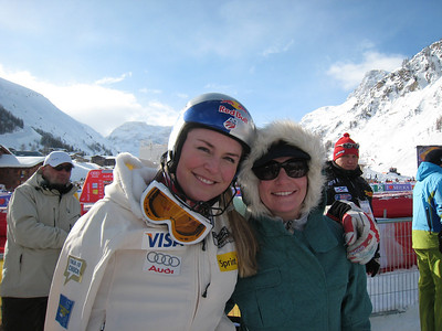 Lindsey Vonn and Megan McJames smile after the first run of slalom in Val d'Isere (Doug Haney/U.S. Ski Team)