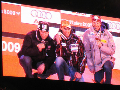 Ted Ligety on the big screen with giant slalom bronze at the World Championships  (Doug Haney/U.S. Ski Team)