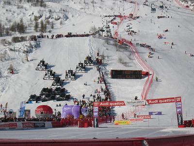 Snow cats line the downhill finish jump on the final day of action in Val d'Isere (Doug Haney/U.S. Ski Team)