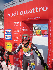 Resi Stiegler smiles at the World Championships slalom - her first race back since Dec. 2007 (Doug Haney/U.S. Ski Team)