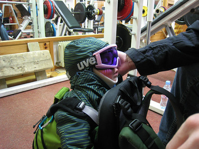 Lasse Schleper-Gaxiola asleep in the backpack after the first slalom run - goggles and all (Doug Haney/U.S. Ski Team)