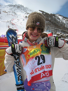 Resi Stiegler shows off her race bib she had signed by French President Nicolas Sarkozy. Stiegler climbed into the stands after her run and also blew him a kiss (Doug Haney/U.S. Ski Team)