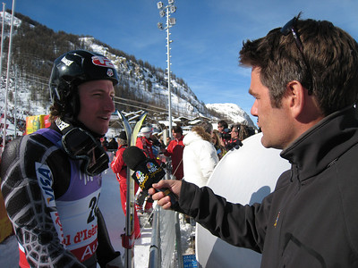 Steve Porino of NBC Sports interviews Jimmy Cochran, who posted the fastest second run time to finish 10th in slalom (Doug Haney/U.S. Ski Team)