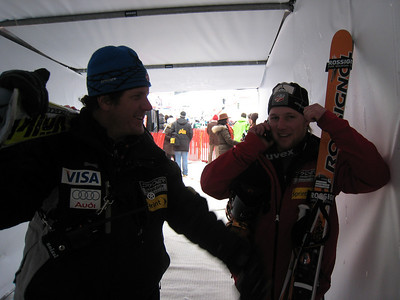 Andrew Weibrecht receives congratulations from Head Coach Sasha Rearick after finishing 11th in the Hahnenkamm super G (Doug Haney/U.S. Ski Team)