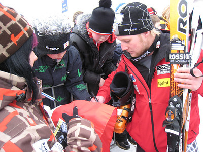 Andrew Weibrecht signs autographs in Kitzbuehel after finishing 11th in the Hahnenkamm super G (Doug Haney/U.S. Ski Team)