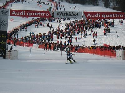 Tim Jitloff crosses the finish line in the Kitzbuehel slalom (Doug Haney/U.S. Ski Team)