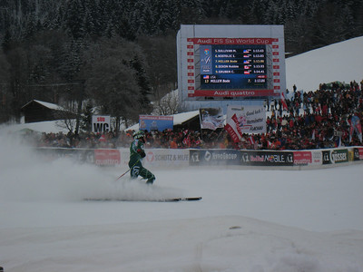 Bode Miller looks at his time following the Hahnenkamm super G in Kitzbuehel (Doug Haney/U.S. Ski Team)
