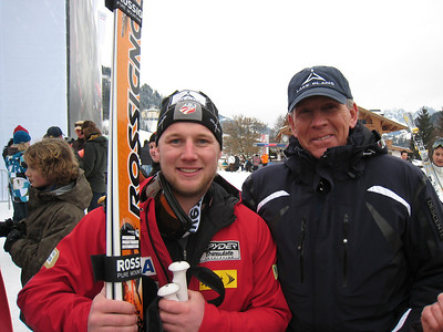 Andrew Weibrecht poses with Olympic Regional Development Authority Vice President Jeff Byrne of Lake Placid, NY following his 11th place super G finish in Kitzbuehel (Doug Haney/U.S. Ski Team)