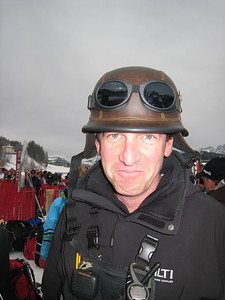 Mike Kertesz of the FIS poses in the Kitzbuehel finish are with a hat he borrowed from Italian Alpine Director Claudio Roberto (Doug Haney/U.S. Ski Team)