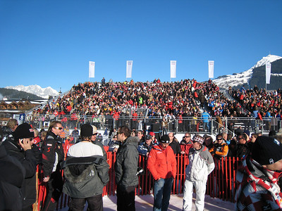 Fans pack the stands as thousands pour into Kitzbuehel for the famed Hahnenkamm downhill (Doug Haney/U.S. Ski Team)