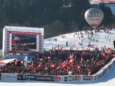 Austrian fans cheer wildly during the Hahnenkamm downhill in Kitzbuehel (Doug Haney/U.S. Ski Team)