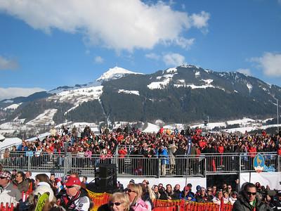 Fans fill the new finish stadium for slalom in Kitzbuehel (Doug Haney/U.S. Ski Team)
