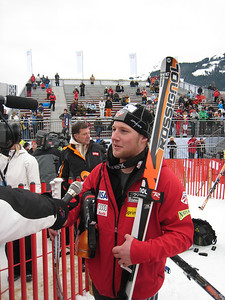 Andrew Weibrecht interviews in the Hahnenkamm finish area after rocketing to an 11th place finish in super G at Kitzbuehel (Doug Haney/U.S. Ski Team)
