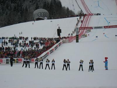 Cheerleaders warm up the crowd in Kitzbuehel (Doug Haney/U.S. Ski Team)